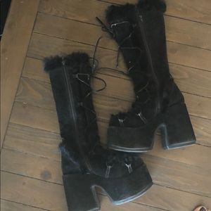 Demonia Black Fur platform Gogo Dancer Boots 9
